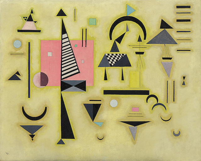 "Wassily Kandinsky, ""Decisive Pink"" (1932), oil on canvas (Solomon R. Guggenheim Museum, New York, via WikiArt)"