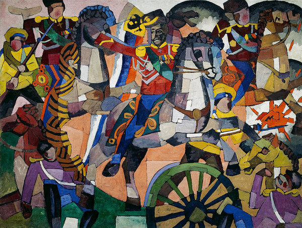 "Aristarkh Lentulov's ""Victorious Battle (Military Panel)"" (1914), at the Neue Galerie's exhibition"