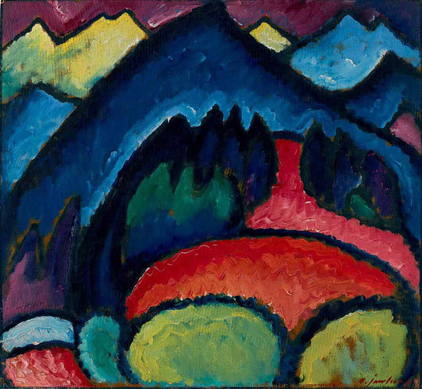 "Alexei von Jawlensky's ""Oberstdorf — Mountains"" (1912). Credit 2015 Alexei von Jawlensky Artists Rights Society (ARS), New York/ADAGP, Paris, Petr Aven Collection"