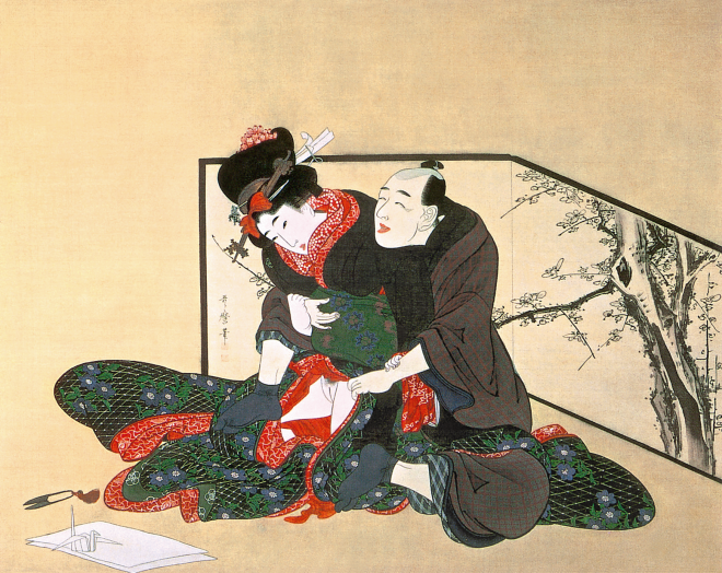 Kitagawa Utamaro, Man Seducing a Young Woman (Otoko to musume), 1801-1804. Ink and colour on silk, 70 x 55 cm, Tokushu Paper Mfg. Co., Ltd.