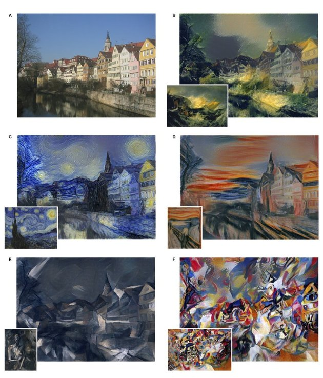PHOTO: ANDREAS PRAEFCKE VIA WIKIPEDIA. ALTERED IMAGES: GATYS, ECKER, BETHGE The researchers input a photo and a work of art into their model to achieve a combination of the content of the photo (a row of houses) and the aesthetic of each painting.