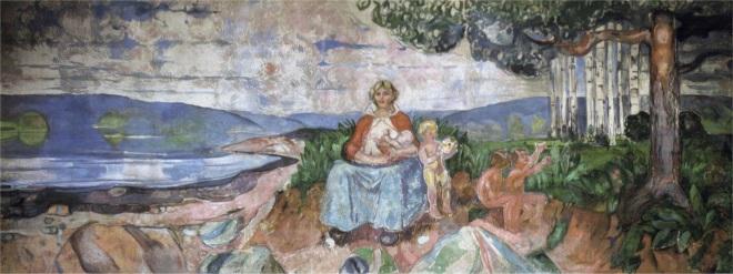 Edvard Munch, Alma Mater, 1911-1916. Óleo sobre lienzo, 455 x 1160 cm. Salón de actos de la Universidad de Oslo.