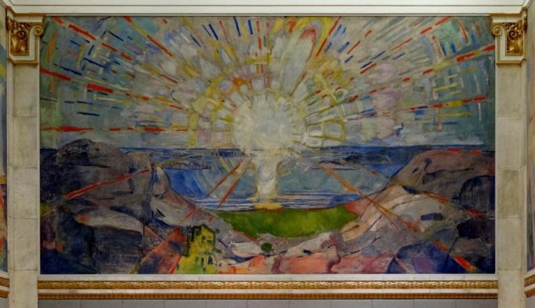 Edvard Munch, El Sol, 1911-1916. Óleo sobre lienzo, 455 x 780 cm. Salón de actos de la Universidad de Oslo.