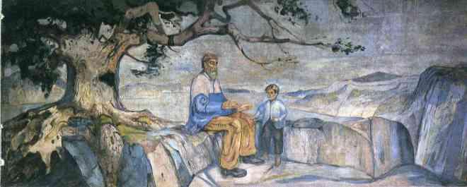 Edvard Munch, Historia, 1911-1916. Óleo sobre lienzo, 450 x 1163 cm. Salón de actos de la Universidad de Oslo.